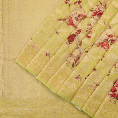Lime Yellow Banarasi Georgette Saree