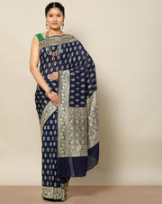 Navy blue pure banarasi georgette saree
