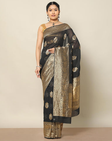 Black georgette semi banarasi saree