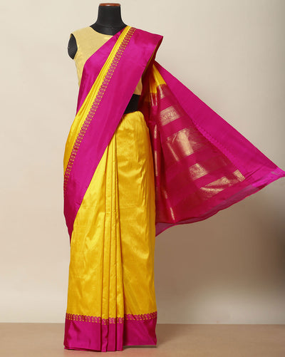 Bumblebee yellow pure silk saree