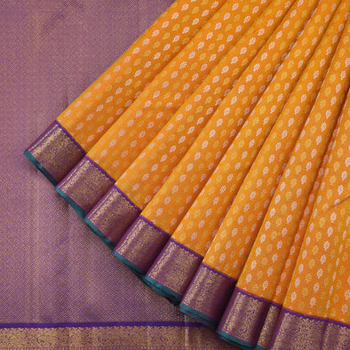 Turmeric yellow butta kajivaram silk saree