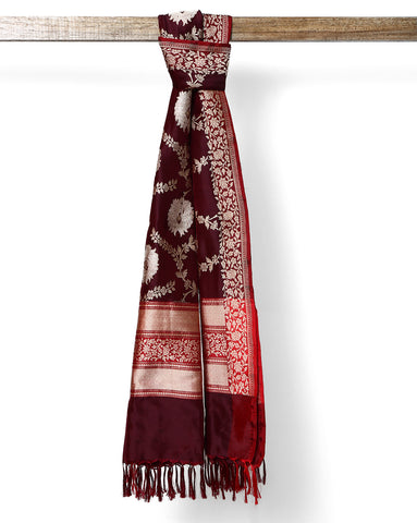 Black pure banarasi georgette dupatta with maroon border