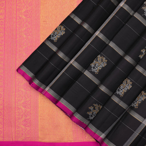 Dark chocolate brown Kanchipuram borderless saree