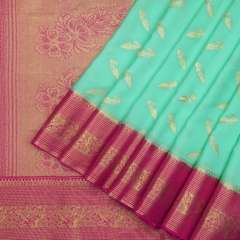 Sea green pure Mysore Silk Saree