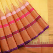 Sandalwood Yellow Khadi Saree