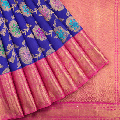 Majestic blue Kanjivaram silk Saree