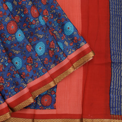 Royal blue silk crepe printed saree.