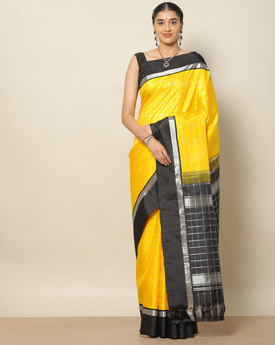 Sunshine yellow Pure Kanchipuram silk saree