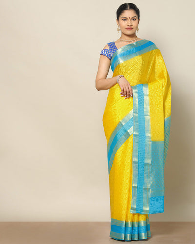 Pineapple yellow pure mysore silk saree