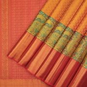 Alluring mustard gold zari brocade Kanchipuram silk saree