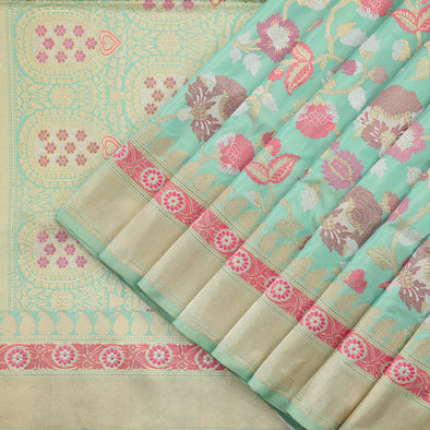Mint Green Banarasi Silk Saree