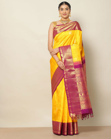 Bright yellow pure Kanchipuram silk saree