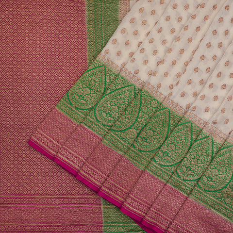Off White pure banarasi Silk Saree