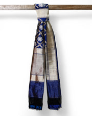 Navy Blue pure Banarasi silk dupatta with zari border