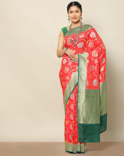 Red Banarasi kaddi georgette saree