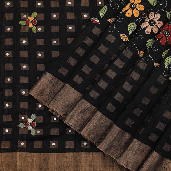 Black Tussar Silk Saree
