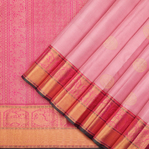 Powder pink pure Kanchipuram silk saree