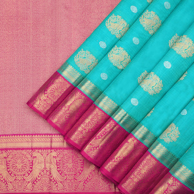 Turquoise blue kora Kanchipuram Silk Saree