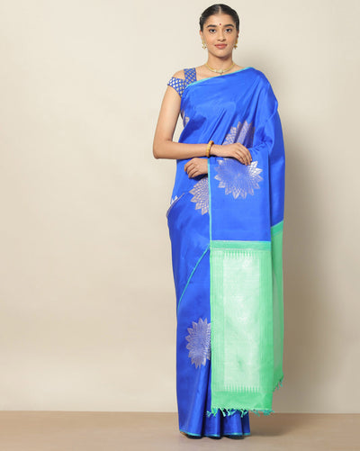 Blue Kanchipuram pure silk saree