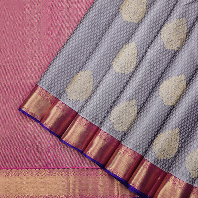 Steel grey Kanchipuram jacquard silk saree