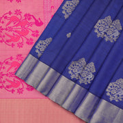 Navy blue and radiant Pink pure soft silk saree