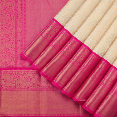 Off White Kanjivaram Silk Saree