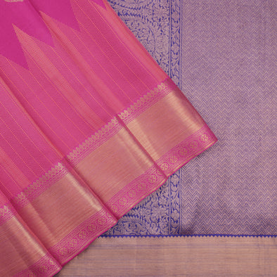 Hot pink and blue kora kanchipuram saree