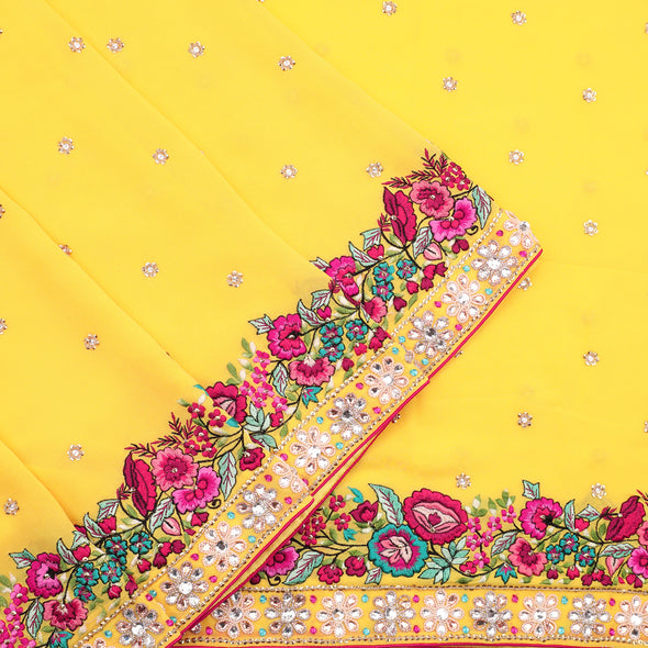 Lemon yellow gara embroidery georgette saree