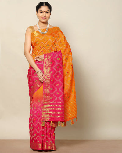 Orange and pink semi tussar silk saree