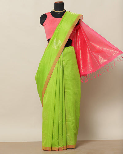 Lime green cotton silk saree