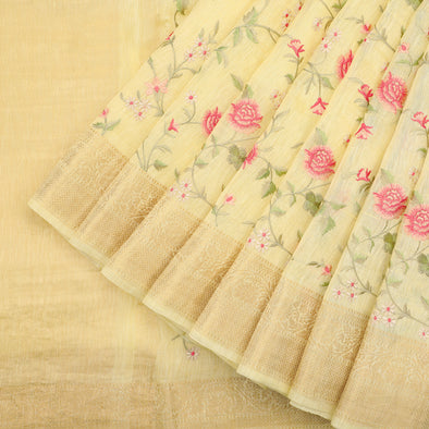 Powder yellow linen saree