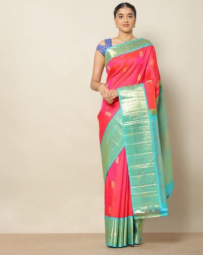 Orangish pink designer silk saree