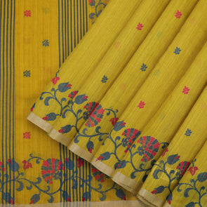 Greenish Yellow Tussar Saree