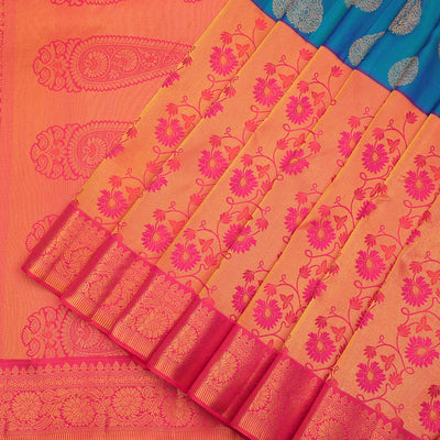 Hypnotic peacock blue Kanchipuram silk saree