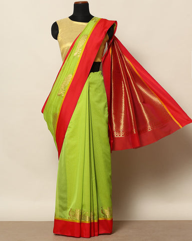 Lime green Bangalore art silk saree