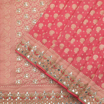 Peachish pink kadhi banarasi georgette saree