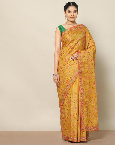 Mustard colour tussar silk saree