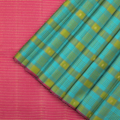 Turquoise and Yellow Checked Kanjivaram Silk Saree