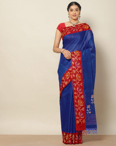 Royal blue jute tussar saree