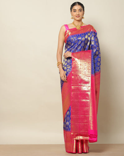 Cobalt blue Kanchipuram silk brocade saree