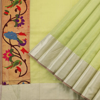 Pastel Green Gold Tissue Silk Saree