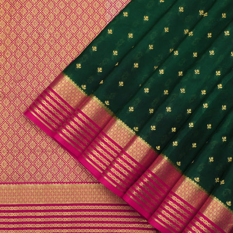 Bottle green pure Mysore crepe silk saree