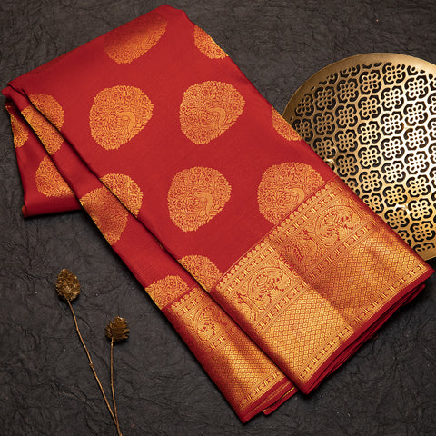 Rust red designer silk saree