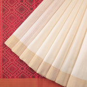 Pearl white raw silk saree