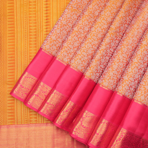 Mustard designer Kanchipuram pure silk saree
