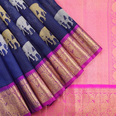 Midnight blue kanchi kora silk saree