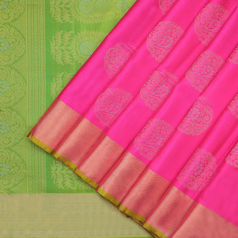 Pink and tender leaf green pure soft Silk Saree