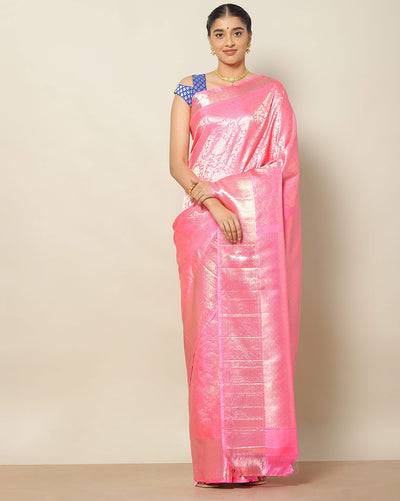 Bright pink Kanchipuram silk saree