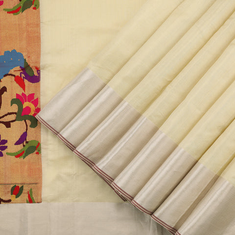 Cream Gold Tissue Silk Saree