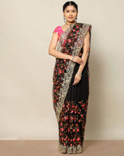 Black netted saree